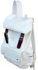 AM Landen®Synthetic Soft Leather Backpack School Bag Travel Bag(White/BRN)