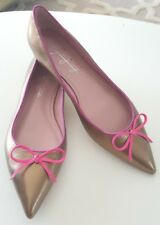 NEW Shoes of Prey gold leather metallic flats, pink bow & trim Sz 7 Ret$ 145