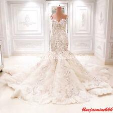Luxury Mermaid Wedding Dress Long Train Open Back Beads Bridal Gown Custom 2-28+