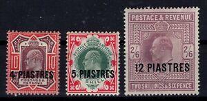 AP125839/ BRITISH LEVANT / EDWARD VII / SG # 31 – 32 - 33 / MINT MH * CV 180 $
