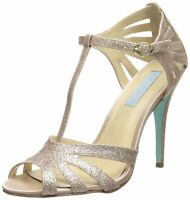 Betsey Johnson Womens TEE Open Toe T-Strap Classic Pumps, Champagne, Size 6.5 2n