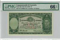 Australia 1 Pound Banknote 1952 Pick# 26d R32 PMG GEM UNC 66 EPQ