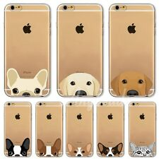 Cute Cartoon Animals Dog Cat Case Cover For iPhone 4S 5S 6S Plus transparent TPU