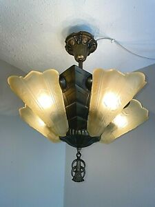 1930s Art Deco 5 Light Simi-Flush Mount Slip Shade Fixture