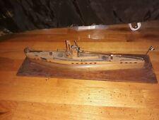Rare 1940s WWII Italian Prisoner of War Wood Model Submarine Italy Ship Boat