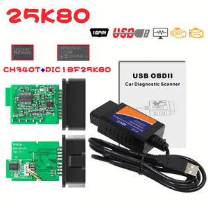 MINI V1.5 USB with CH340T PIC18F 25K80 Chip OBD2 Scanner for Multi-brand CAN-BUS