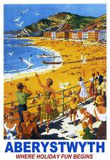Aberystwyth where Holiday fun Begins Seaside Train Rail Travel  Poster Print