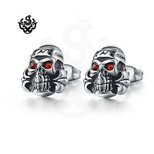 Silver stud made with red swarovski crystal stainless steel skull earrings