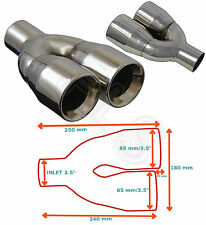 """UNIVERSAL STAINLESS EXHAUST TAILPIPE PAIR 2.5""""/3.5"""" YFX-0225-SP35–Toyota 2"""