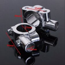 "8MM Chrome 7/8""Motorcycle HandleBar Mirror Thread Mount Holder Clamp Adaptor"
