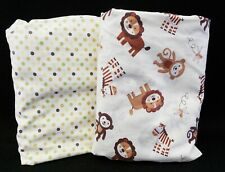 Lot of Two Unisex Crib Toddler Sheets Cream Browns Animals & Polka Dots