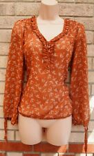 FLORENCE & FRED TERRACOTTA BURNT ORANGE BIRDS FRILL BLOUSE TOP T SHIRT 8 S