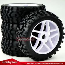 4pcs New RC 1/8 Baja Buggy Badlands All Terrain Tires Tryes W/ Hex 17mm Wheels