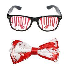 Halloween sang coloré nœud papillon & wayfarer lunettes fancy dress accessoires