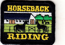 """HORSEBACK RIDING"" w/HORSES & FARM - Iron On Embroidered Patch/Western/Southwest"