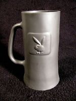 Raised PLAYBOY BUNNY Logo Black Frosted Matte Tall Glass Beer Mug Collectible