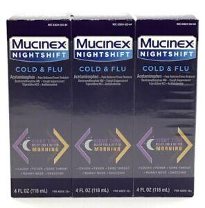 30 Mucinex Night Shift Cold & Flu Liquid Syrup Night Time Bottles 4oz EXP 7/2021