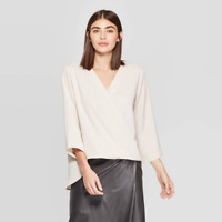 WOMEN'S 3/4 SLEEVE WRAP FRONT WOVEN SHIRT CREAM M - PROLOGUE NEW W/ TAGS