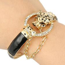Pop Leopard Panther Animal Bangle Bracelet Cuff Black Austrian Crystal Gold Tone