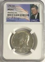 1966 P NGC MS65 STAR SILVER KENNEDY HALF DOLLAR JFK COIN SIGNATURE 50c