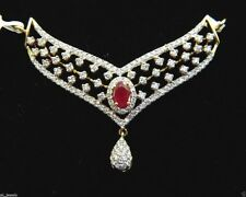2.32cts NATURAL DIAMOND RUBY 14K YELLOW GOLD ANNIVERSARY MANGALSUTRA NECKLACE
