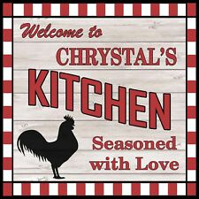 CHRYSTAL'S Kitchen Welcome to Rooster Chic Wall Art Decor 12x12 Metal Sign SS90