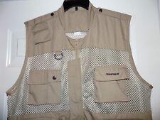 QUANTARAY Fishermans Fishing Flyfishing Fisherman Vented Khaki Vest Mens XL