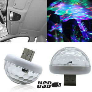 2x LED Car Interior Atmosphere Colorful Light USB Charge Decor Lamp Accessories