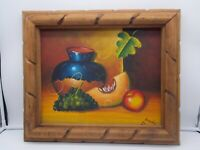 Vintage Still life Of Fruit Oil Painting On Canvas Signed