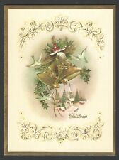 Vintage 1964 Embossed Christmas Card Bells & oves Village Scene in Background