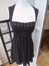 ASOS BLACK FITTED TOP WITH CHIFFON LINED SKIRT DRESS UK SIZE 10