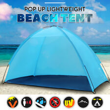 Portable Beach Tent Blue Anti-UV Automatic Pop Up Sun Shade Protection Umbrella