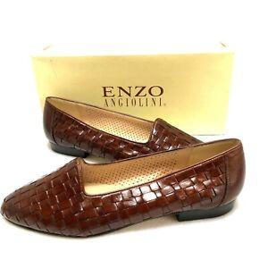 Enzo Angiolini YoGenius Woven Brown Leather Flats Size 9.5M NIB
