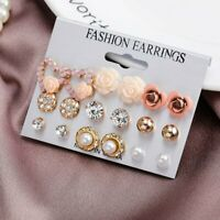9 Pairs/Set Women Crystal Pearl Flower Heart Stud Earrings Elegant Jewelry Gift