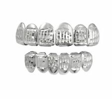 Hip Hop Bling Silver Vertical Cut 14k White Gold Plated Grillz Top&Bottom Joker