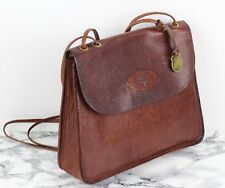 184c9d00e9 MULBERRY Vintage Rich Brown Textured Leather Saddle Satchel Shoulder Bag