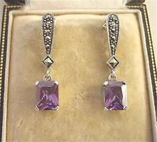 Deco Design Amethyst CZ & Marcasite Silver Drop Earrings