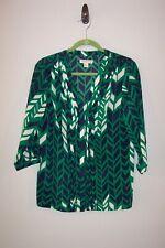 COLDWATER CREEK green black white geometric v-neck 3/4 sleeve blouse size M