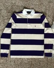 Vintage Ralph Lauren Women's Long Sleeve Striped Polo Shirt Small S Purple White