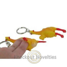 Squeeze Chicken With Egg Keychain Rubber Novelty Item Keyring Key Chain Rubbery