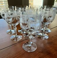 8 Etched Elegant Wine Goblets Bow Swag & Flower By Maryland Glass