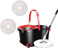 360° Rotating Head Easy Magic Floor Mop Bucket 3Head Microfiber Spinning Clean