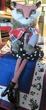 "Fox Debi Lilly Design Lady Fox Polkadot Skirt Shelf Sitter 22"" Tall Collection"