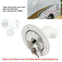 RV White Lock Water Inlet Fill Dish Hatch Tank Filling Port Trailer Camper w/Key