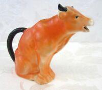 Vintage 1930s Cow Creamer Orange Czechoslovakia Slovakia Pottery Bull Pitcher