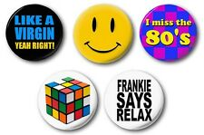 "80's THEME 5 SET -  5 x 25mm 1"" Button Badge - Novelty Cute Retro Disco Party"