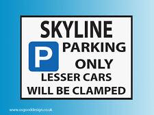 Skyline Parking Only Vinyl Sticker Nissan R34 GTT GTR GTS GT34 R33 D027