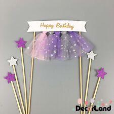 HAPPY BIRTHDAY Cake Topper Cake Bunting Pink Purple Tulle Tassel Birthday Cake