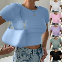 Womens Ladies Short Sleeve Crop Top T-Shirt Vest Round Neck Stretch Plain Blouse
