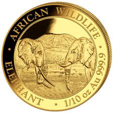 Somalia 100 SH. 2020 - Elefant African Wildlife - Anlagemünze - 1/10 Oz Gold ST